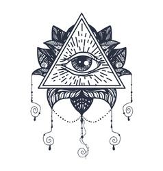 Eye on lotus tattoo vector