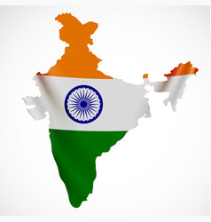 Hanging india flag in form of map republic of vector