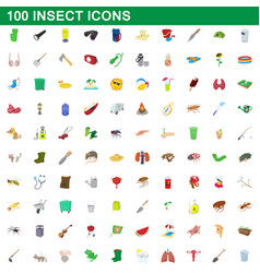 100 insect icons set cartoon style vector