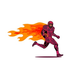 Football Player Running Flames vector image