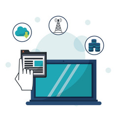 Color background with laptop computer in closeup vector