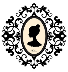 Medallion with a portrait of a girl vector image