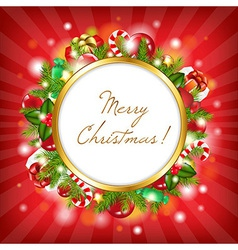 Merry Christmas Card With Garland vector image