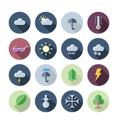 Flat design icons for weather and nature vector