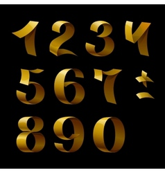 Set of isolated golden shining ribbon numbers on vector