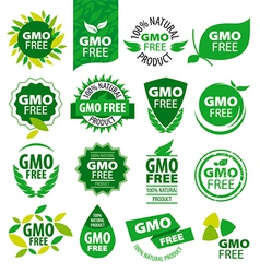 Big set of logos natural products without gmos vector