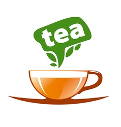 Logo tea in a glass cup vector