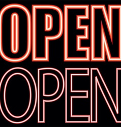 Open sign neon vector
