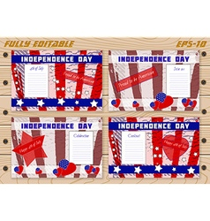 Set of templates for independence day on planked vector