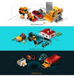 Isometric construction machines banners vector
