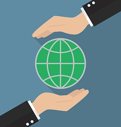 Hands holding globe vector