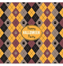 Seamless pattern of vintage happy halloween tartan vector