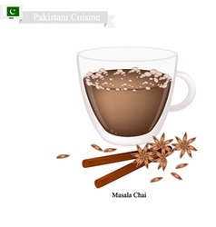 Masala chai traditional pakistani black hot tea vector