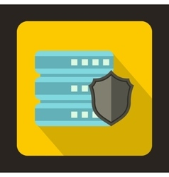 Database with gray shield icon flat style vector