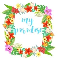 Beautiful floral jungle frame wreath vector image