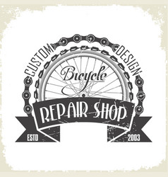 Bicycles repair shop monochrome logo vector