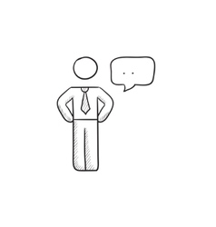 Businessman with a speech square sketch icon vector image