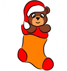 Cartoon bear in christmas sock vector