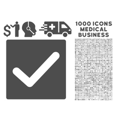 Check icon with 1000 medical business symbols vector