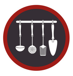 Circular frame with spoons frying set and spatulas vector