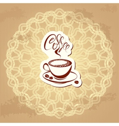 coffee label over circle ornamental vintage backgr vector image