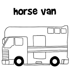 Collection of horse van hand draw vector image
