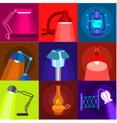different lamp icons set flat style vector image