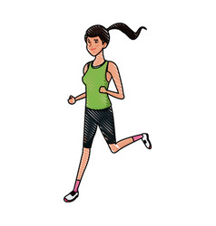 drawing sport girl running athletic fitness image vector image vector image