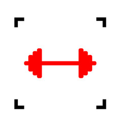 Dumbbell weights sign red icon inside vector