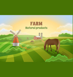 Farm with green fields rural landscape a mill vector