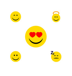 Flat icon face set of love joy asleep and other vector