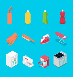 Isometric housework objects with spray vector