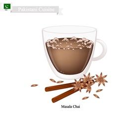 Masala chai traditional pakistani black hot tea vector