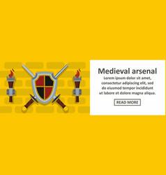 Medieval arsenal banner horizontal concept vector