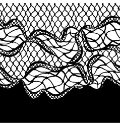 Seamless lace border with abstract waves vintage vector