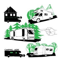 set of different motorhomes and points camping vector image vector image