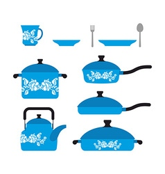 Set of dishes for cooking cookware cup and saucer vector