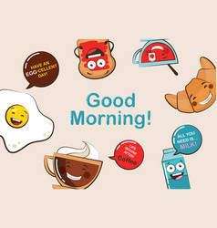 Set of funny breakfast food icons cartoon face vector