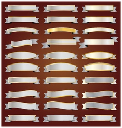 Set Silver ribbons and banners with gold vector image