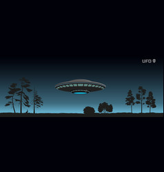 Silhouette of ufo over a night forest vector