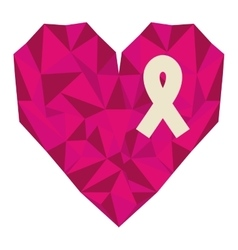 Silhouette pink heart with ribbon of breast cancer vector