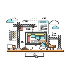 website building process vector image