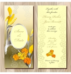 Wedding card with yellow iris bouquet background vector image