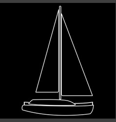 Yacht the white path icon vector