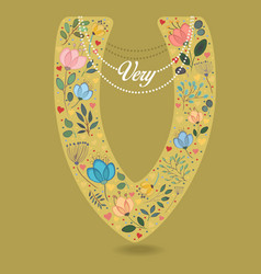 Yellow letter v with floral decor and necklace vector