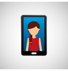 black smartphone and avatar girl vector image