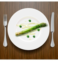 Fresh green asparagus on the plate vector
