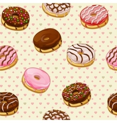 Seamless pattern with colorful tasty donuts vector