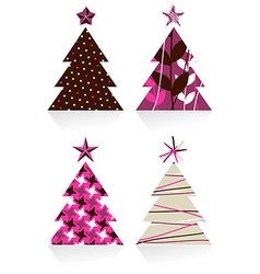 Christmas trees made with different textures vector image