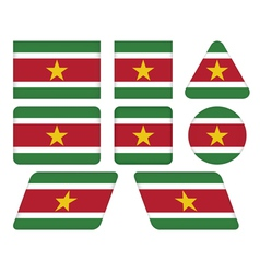 Buttons with flag of suriname vector